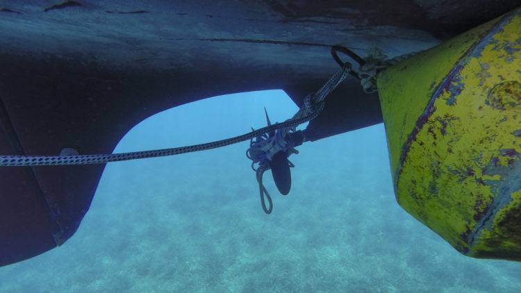 Line of a buoy caught in the propeller