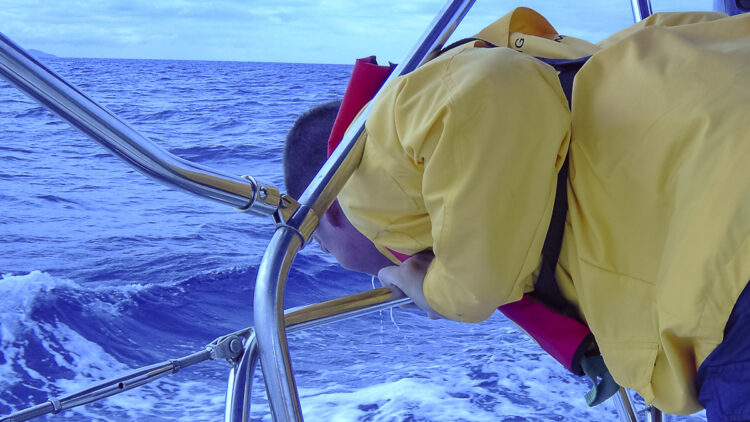 Seasickness on the boat: throwing up