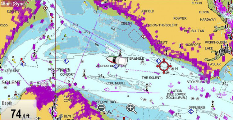 Naval radar systems: radar overlay with radar echoes superimposed on the nautical chart