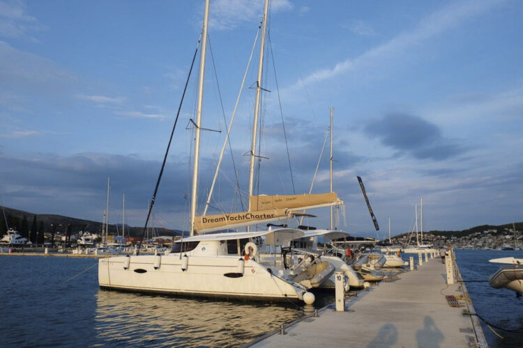 Our charter yacht Marina Baotic just west of Trogir