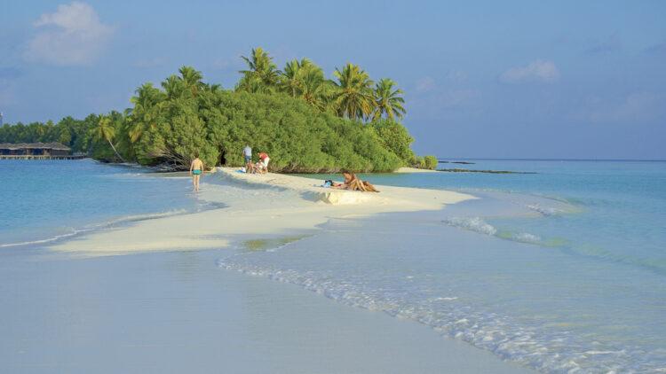 Schwankender Meeresspiegel der Ozeane - Phänomen der Gezeiten: Kuramathi, Rasdhoo Atoll, Malediven