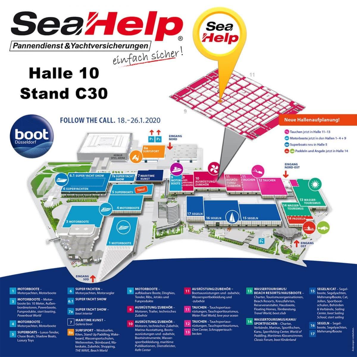 SeaHelp auf der boot Düsseldorf 2020 Halle 10 Stand C30