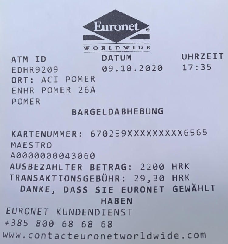 Geldautomat Kroatien: Quittung Wechselkurs