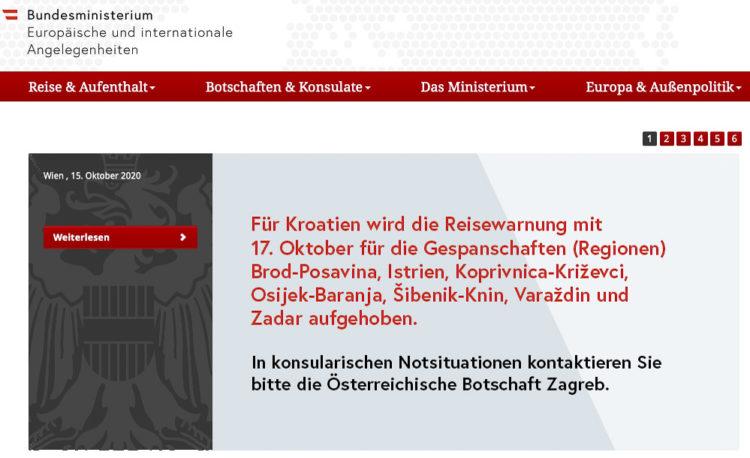 Reisewarnung Kroatien: Österreich hebt Reisewarnung für die Regionen Bord-Posavina, Istrien, Kopivnica-Krizevci, Osijek-Baranja, Sibenik-Knin, Varazdin, Zadar auf