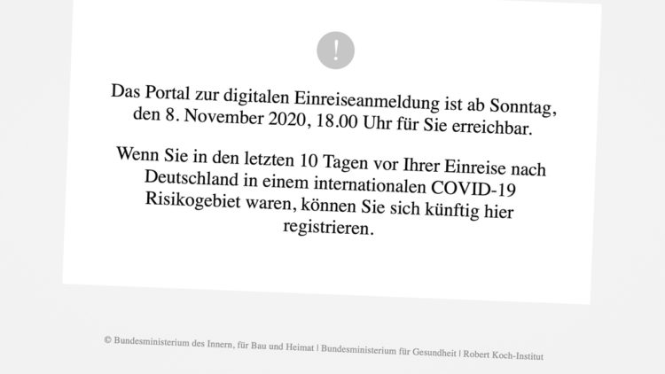 Germany: Digital entry registration for entry from international COVID-19 risk areas