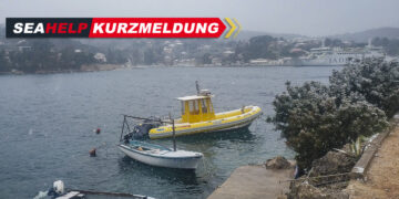 Weather Croatia: Snowfall in Solta in Dalmatia. SeaHelp rescue boat lightly covered by snow