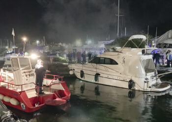 Fire Marina Punat on the island of Krk / Croatia: fire on a yacht