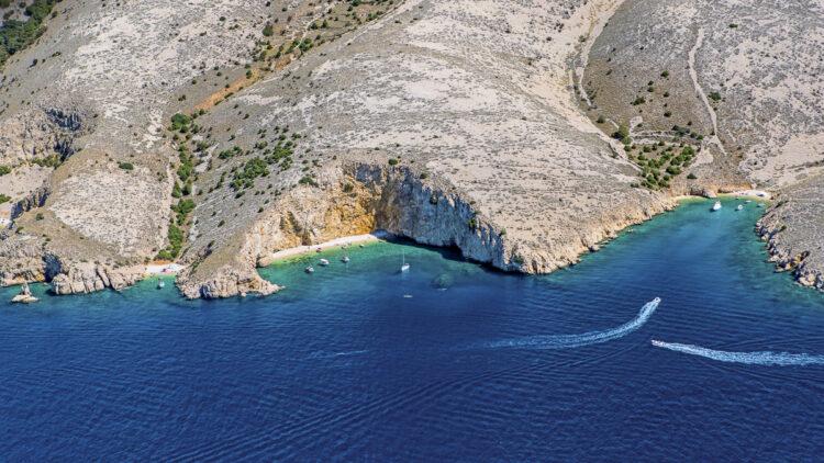Kvarner cruise: mountainous coast southeast of the marina Punat on
