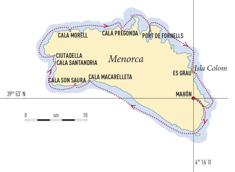Revier Menorca - Törn um die Insel: Karte / Törnkarte