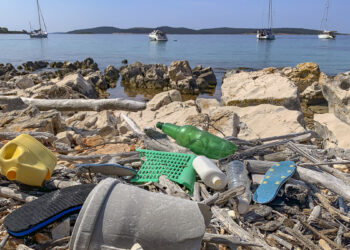 Plastic flood in the sea: plastic waste on the beach