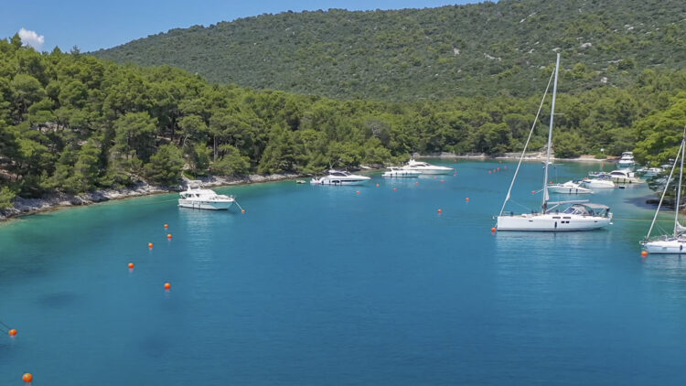 Krivica buoy field and anchorage on the island of Losinj in Croatia