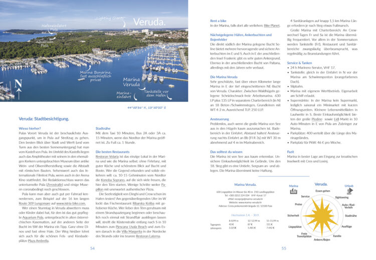 Area compass Croatia cruise: example double page ports, towns and islands presented
