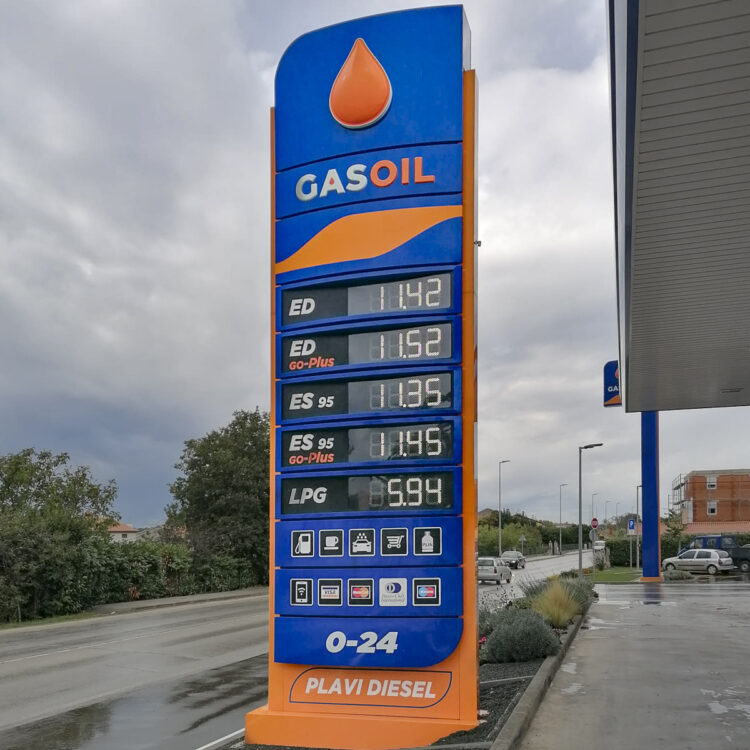 Kraftstoffpreise für Benzin und Diesel in Kroatien: Gasoil Tankstelle in Pula
