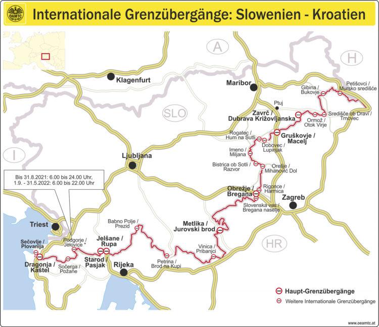 ÖAMTC Karte mit Internationalen Grenzübergängen