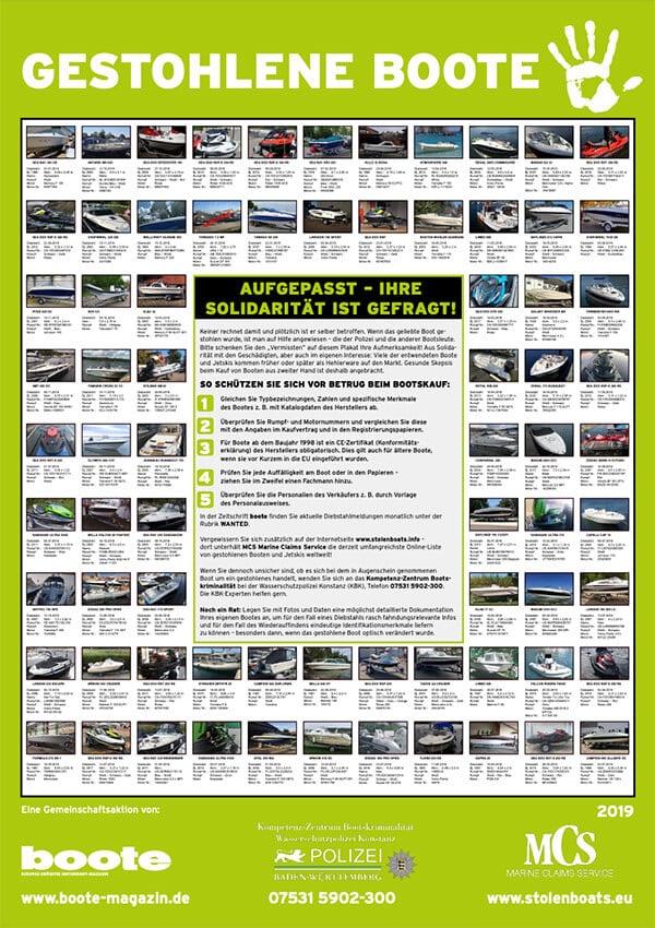 Plakat gestohlene Boote / Yachten  MCS - Marina Claim Service